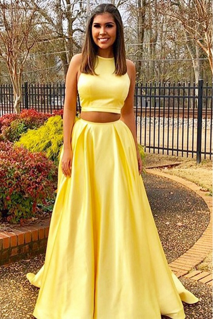Long Yellow Two Pieces Prom Dresses Formal Evening Dresses 601055