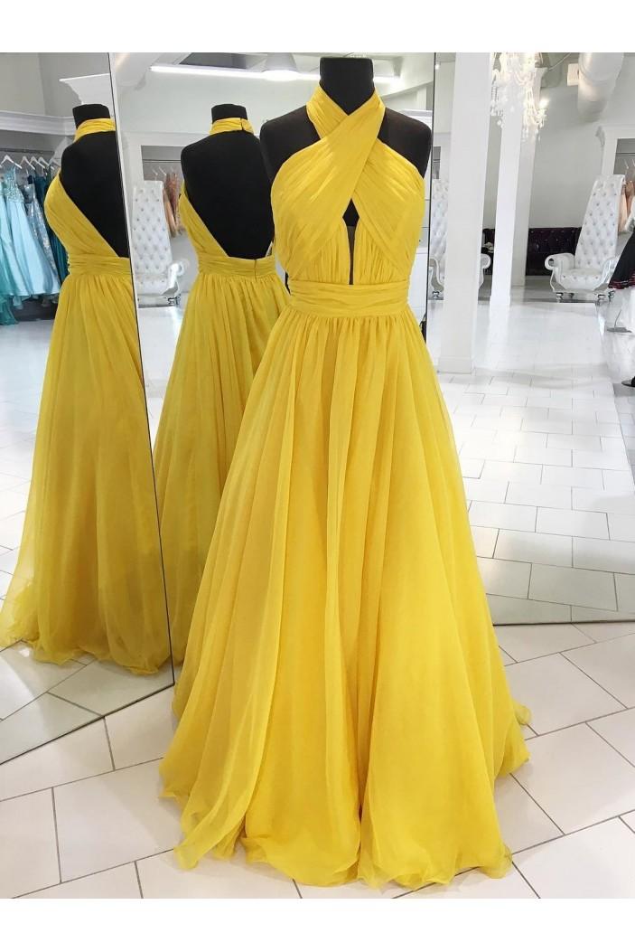 Long Yellow Halter Chiffon Prom Dresses Formal Evening Dresses 601056