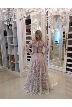 A-Line Long Sleeves Lace Long Prom Dresses Formal Evening Dresses 601057