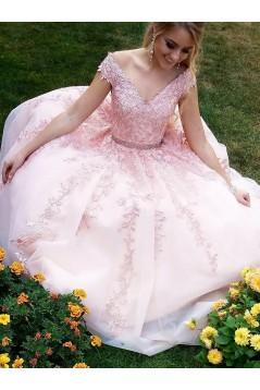 Long Pink V-Neck Lace Beaded Prom Dresses Formal Evening Dresses 601058