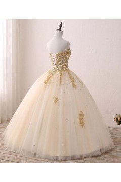 Ball Gown Sweetheart Gold Lace Appliques Long Prom Dresses Formal Evening Dresses 601059