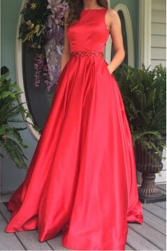 A-Line Long Red Beaded Prom Dresses Formal Evening Dresses 601060
