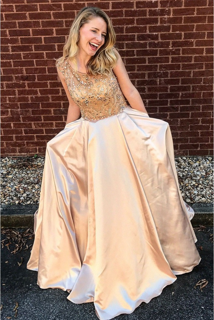 A-Line Beaded Satin Long Prom Dresses Formal Evening Dresses 601061