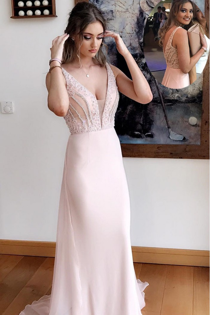 Beaded Long Prom Dresses Formal Evening Dresses 601065
