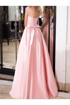 Long Pink Lace Satin Prom Dresses Formal Evening Dresses 601067