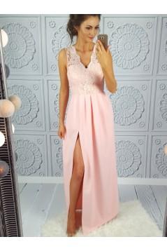 Long Pink V-Neck Lace Prom Dresses Formal Evening Dresses 601069