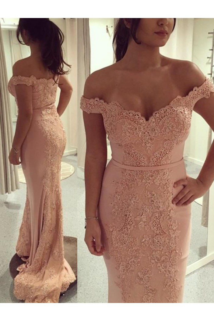 Mermaid Off-the-Shoulder Lace Long Prom Dresses Formal Evening Dresses 601070