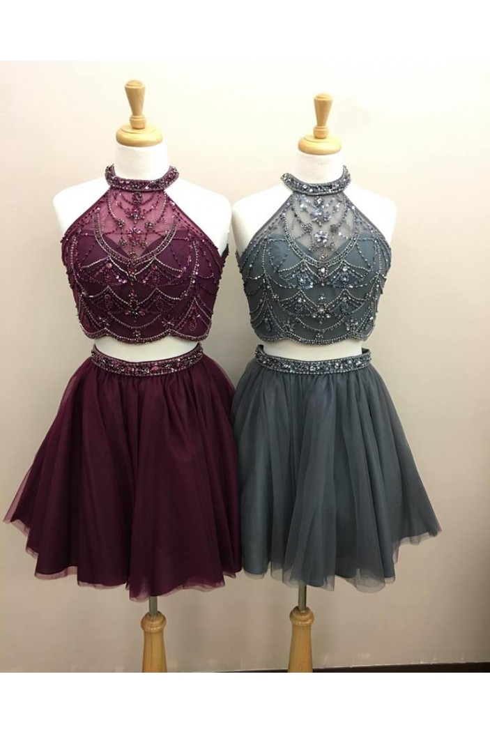 Two Pieces Beaded Short Prom Dresses Formal Evening Dresses 601071