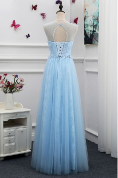Long Blue Lace Tulle Prom Dresses Formal Evening Dresses 601072
