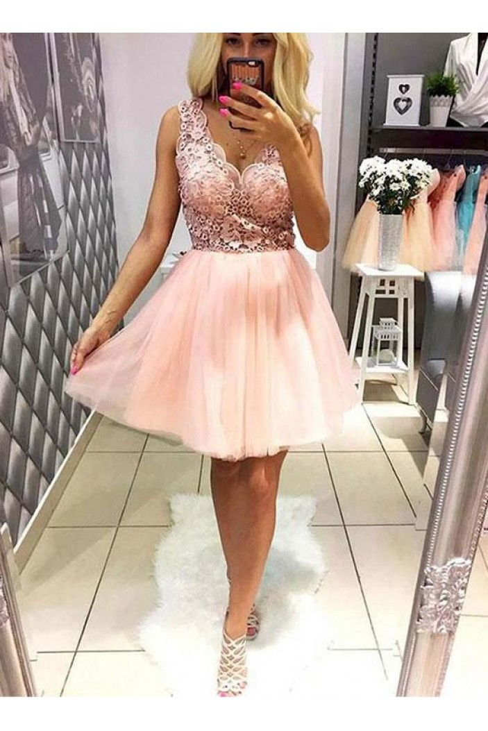 A-Line Short Pink Lace Prom Dresses Formal Evening Dresses 601073