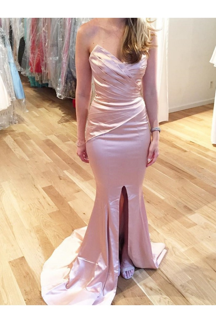 Mermaid Long Prom Dresses Formal Evening Dresses with Front Slit 601075