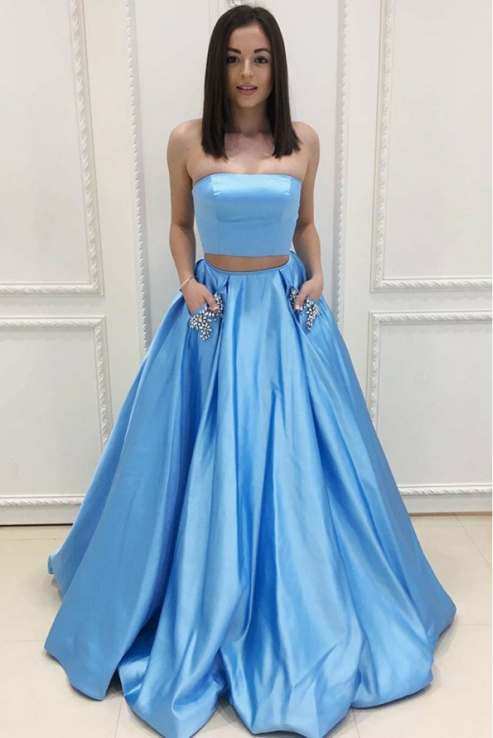 Long Blue Two Pieces Beaded Prom Dresses Formal Evening Dresses 601080