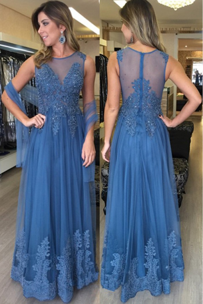 Lace and Tulle Long Long Prom Dresses Formal Evening Dresses 601081