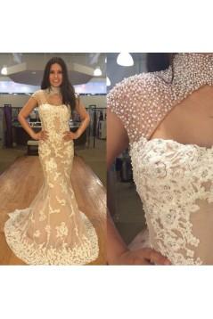 Mermaid Beaded Lace Long Prom Dresses Formal Evening Dresses 601082