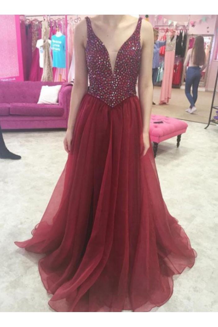 A-Line Beaded Long Prom Dresses Formal Evening Dresses 601083