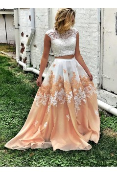 Two Pieces Lace Long Prom Dresses Formal Evening Dresses 601084