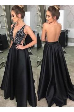 A-Line V-Neck Beaded Long Black Prom Dresses Formal Evening Dresses 601086