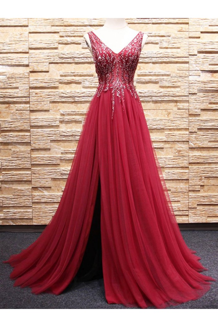 A-Line Beaded Long Red Tulle Prom Dresses Formal Evening Dresses 601087