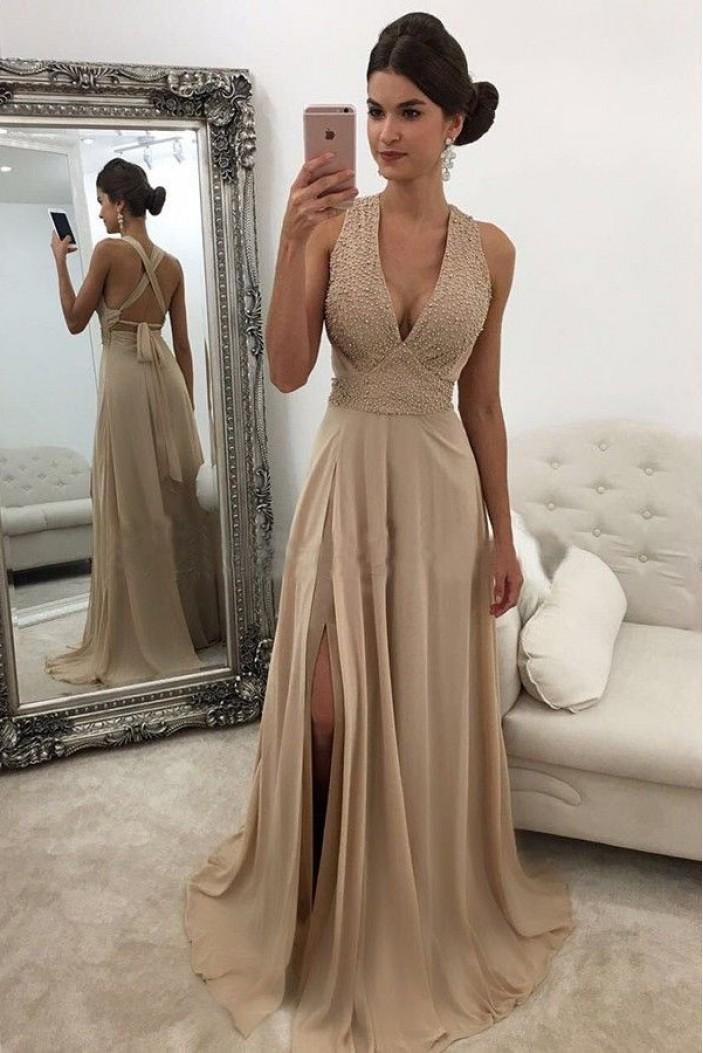 Beaded Chiffon V-Neck Long Prom Dresses Formal Evening Dresses 601089