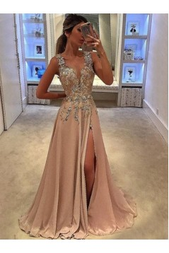 A-Line V-Neck Long Prom Dresses Formal Evening Dresses 601090