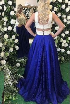 Beaded Lace Blue White Long Prom Dresses Formal Evening Dresses 601091