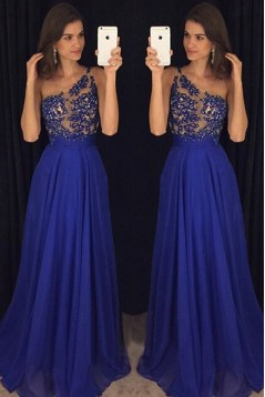 A-Line One-Shoulder Long Blue Beaded Lace Chiffon Prom Dresses Formal Evening Dresses 601092