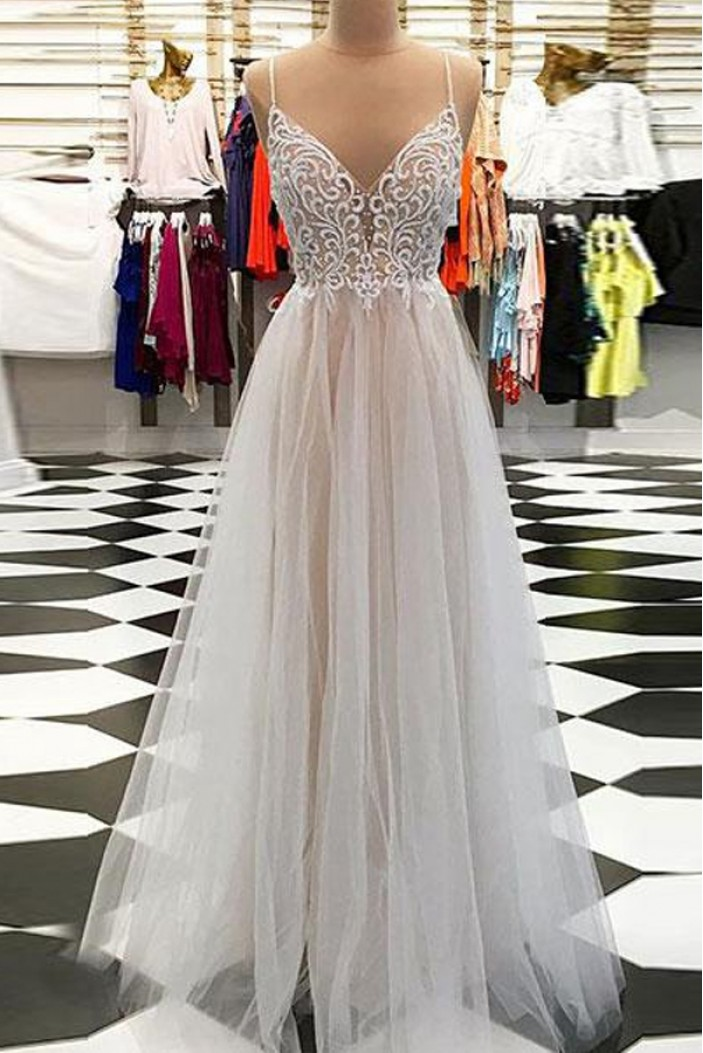 A-Line Long Prom Dresses Formal Evening Dresses 601094