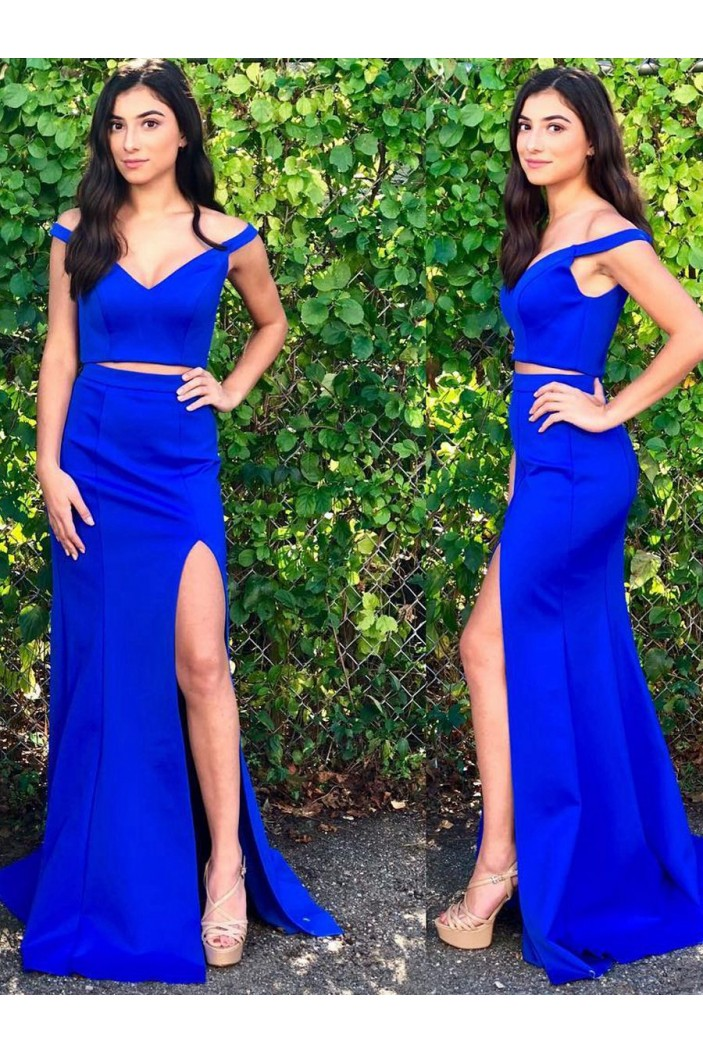 Two Pieces Off-the-Shoulder Long Blue Prom Dresses Formal Evening Dresses 601096