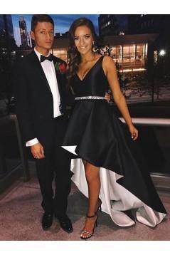 High Low Black White V-Neck Prom Dresses Formal Evening Dresses 601097