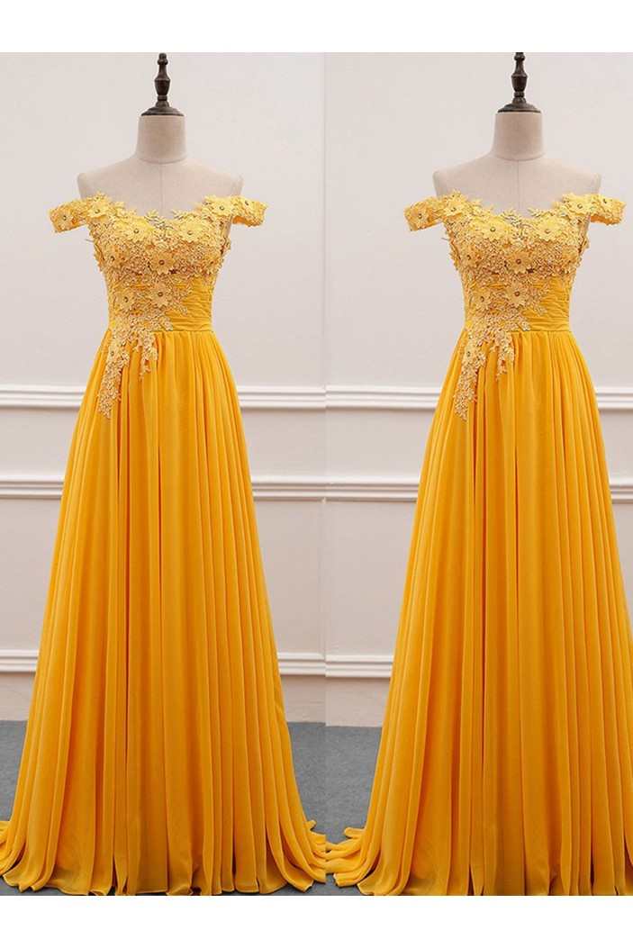 A-Line Off-the-Shoulder Lace Chiffon Long Prom Dresses Formal Evening Dresses 601098