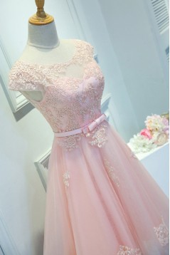 A-Line Short Pink Lace Appliques Prom Dresses Formal Evening Dresses 601099