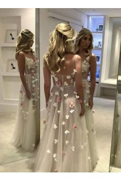 A-Line Sweetheart Long Prom Dresses Formal Evening Dresses with Flowers 601102