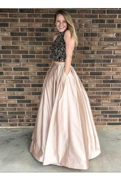 Beaded Two Pieces Long Prom Dresses Formal Evening Dresses 601104