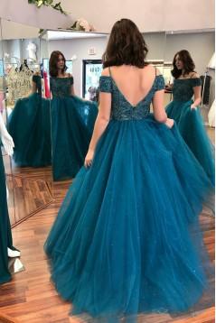 Beaded Tulle Long Prom Dresses Formal Evening Dresses 601105