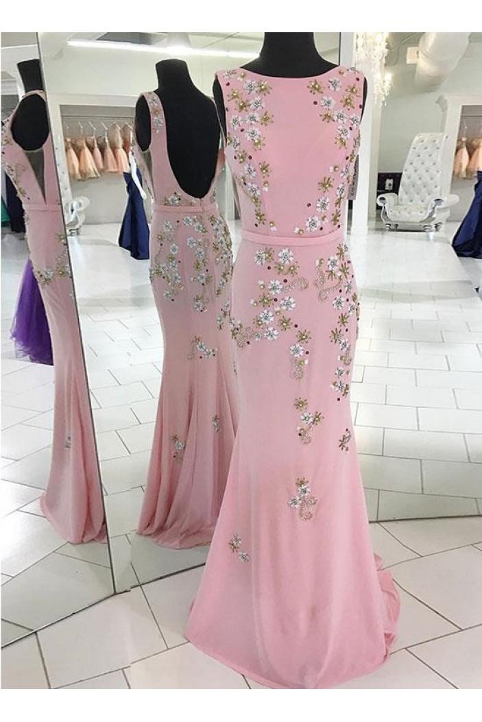 Long Pink Beaded Mermaid Prom Dresses Formal Evening Dresses 601106