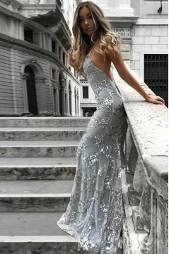 Mermaid V-Neck Lace Long Prom Dresses Formal Evening Dresses 601107