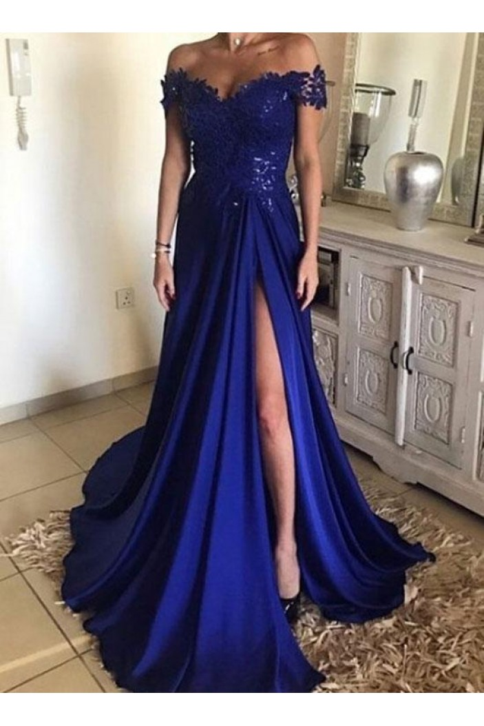 A-Line Long Blue Lace Off-the-Shoulder Prom Dresses Formal Evening Dresses 601108