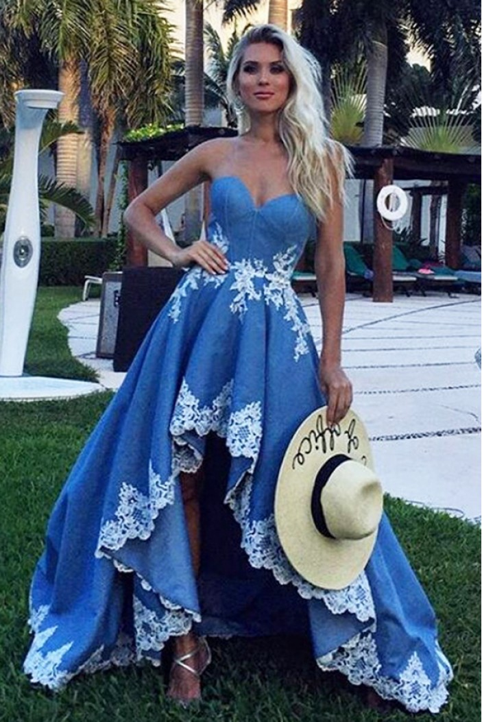 High Low Sweetheart Lace Prom Dresses Formal Evening Dresses 601111