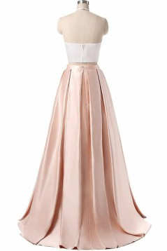 Halter Two Pieces Satin Long Prom Dresses Formal Evening Dresses 601113