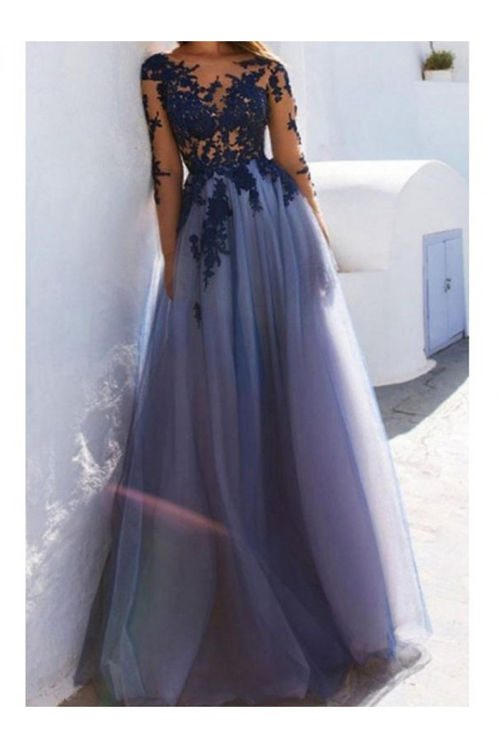 Lace Long Sleeves See Through Prom Dresses Formal Evening Dresses 601117