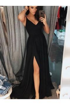 Simple Stunning V-Neck Long Black Prom Dresses Formal Evening Dresses 601118