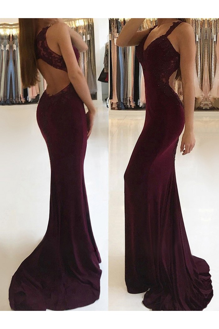 Elegant V-neck Trumpet/Mermaid Lace Appliques Prom Dresses Formal Evening Gowns 601120