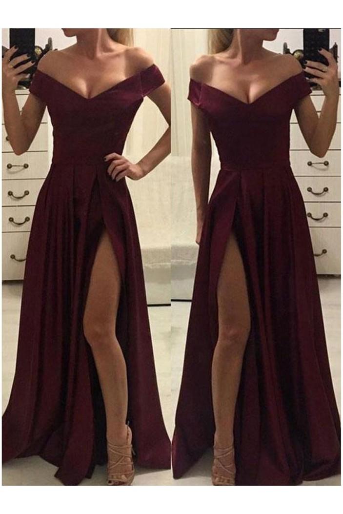 Elegant V-neck Off-the-Shoulder Long Prom Dresses Formal Evening Gowns 601121