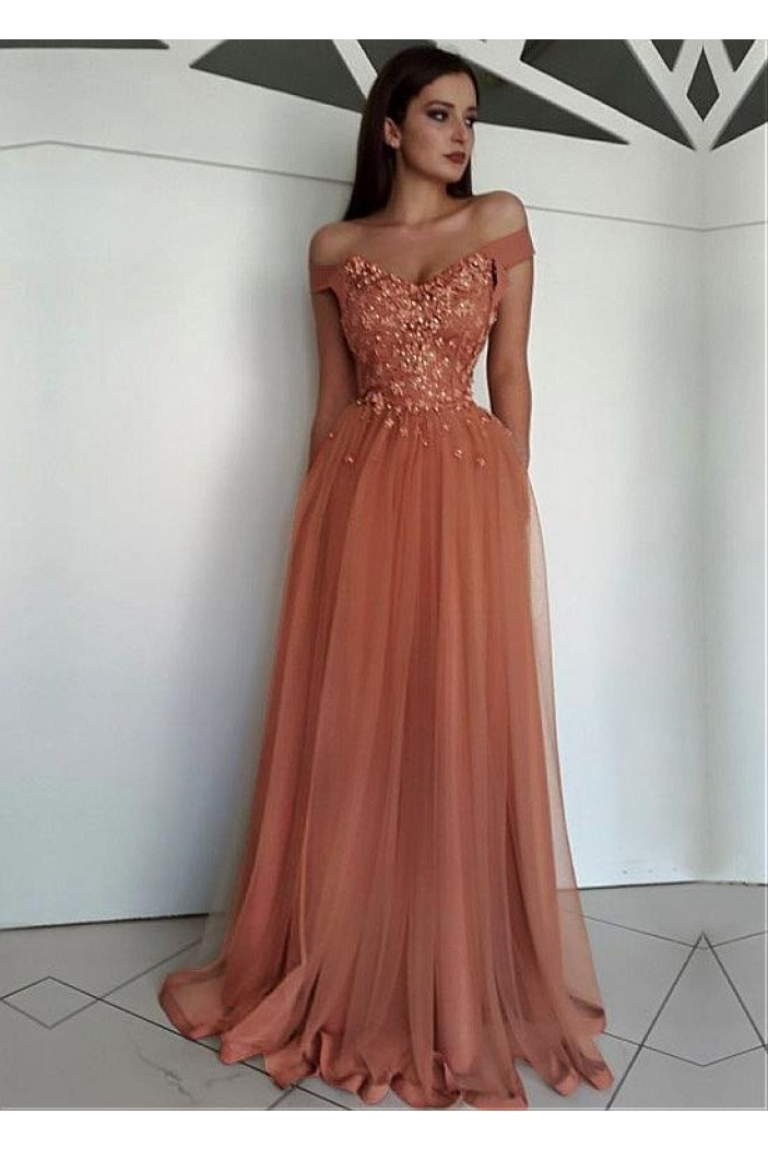 Elegant Off-the-Shoulder Beaded Lace Tulle Long Prom Dresses Formal Evening Dresses 601126
