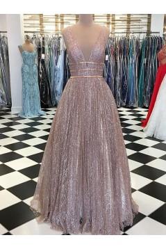 Sparkle V-Neck Long Prom Dresses Formal Evening Dresses 601130