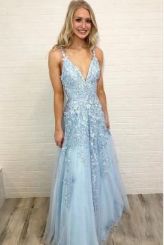 A-Line Lace Appliques V-Neck Long Prom Dresses Formal Evening Dresses 601132
