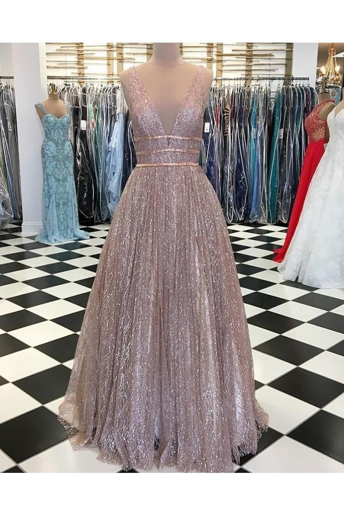 Sparkle V-Neck Long Prom Dresses Formal Evening Dresses 601133