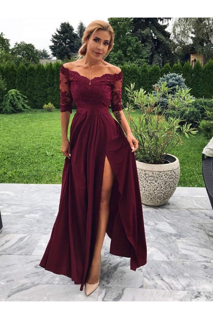 Lace Off-the-Shoulder Long Prom Dresses Formal Evening Dresses 601134
