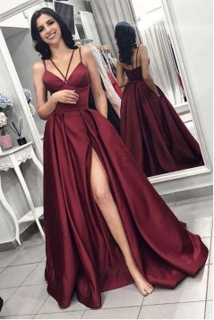 A-Line V-Neck Spaghetti Strap Long Prom Dresses Formal Evening Dresses 601135