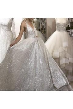 Sparkle V-Neck Long Prom Dresses Formal Evening Dresses 601136
